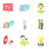 Mass Publication Icons Set. Cartoon Set Of 9 Mass Publication Icons For Web Isolated On White Backgr poster