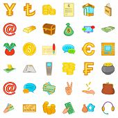 Material Assets Icons Set. Cartoon Set Of 36 Material Assets Icons For Web Isolated On White Backgro poster