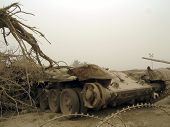 Military Army Vehicle Tank On Tracks With Barrel After Victorious War. Army Tank Consists Of Armored poster