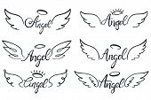 Angel Wings Lettering. Heaven Wing, Heavenly Winged Angels And Holy Wings Sketch Vector Illustration poster