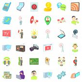 Video Environment Icons Set. Cartoon Set Of 36 Video Environment Icons For Web Isolated On White Bac poster