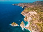 Coastline And Blue Ocean In Nusa Penida. Aerial Drone View Of Tropical Island poster