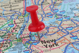 picture of united states map  - Close up of map of New York with push pin on city - JPG