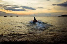 pic of waverunner  - Waverunner Near The Beach In Thailand during sunset - JPG