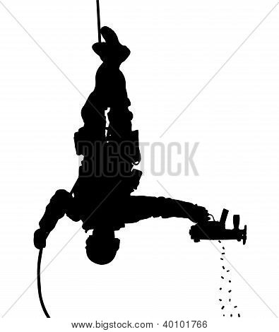 SWAT soldier shooting while rappelling. Vector silhouette. Fully editable
