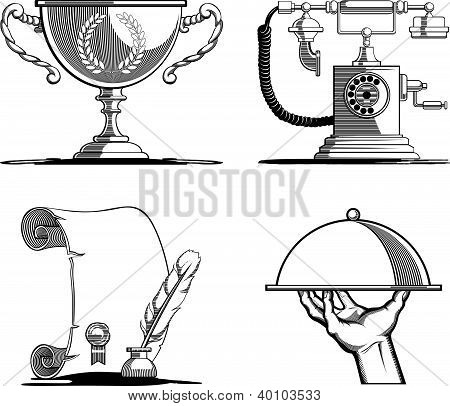 Retro Icons - Old Script, Telephone, Tray & Trophy