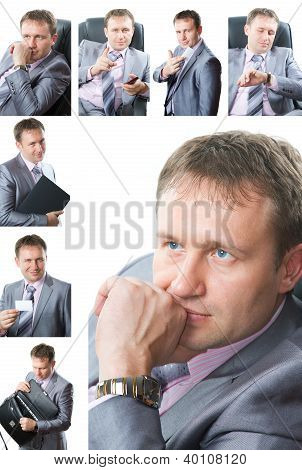 Business Theme: Collage Of Portrait Of  Handsome  Business Man In A Stylish Suit With  Tie, Isolated