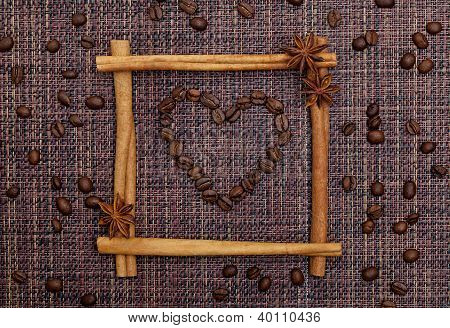 Heart of Coffee Beans in Cinnamon Sticks Frame