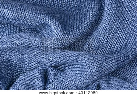 Close Up Blue Knitted Pullover Background