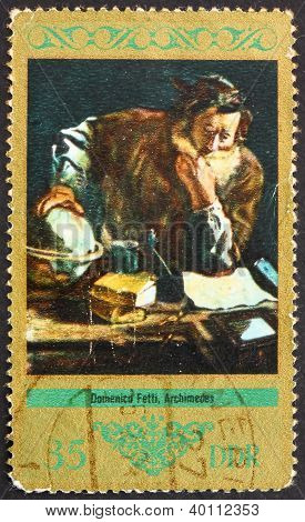 Postage Stamp Gdr 1973 Archimedes, Painting By Domenico Fetti
