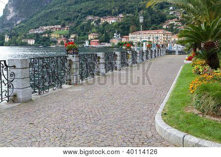 Promenade at the town of Menaggio at lake Como in Italy