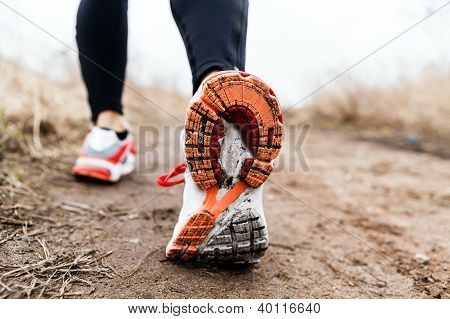 Walking Or Running Legs Sport Shoes