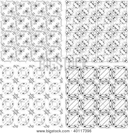 Set Of Monochrome Geometric Seamless Patterns. Background Collection