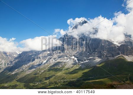 Famous north face of mount Eiger in Jungfrau region