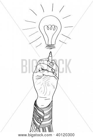 Hand of a businessman drawing lightbulb. vector illustration