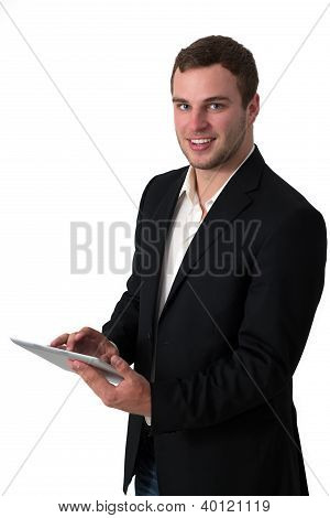 Young Businessman Working On A Tablet Pc