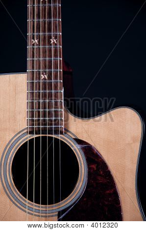 Acoustic Guitar Close Up Isolated On Black Bk