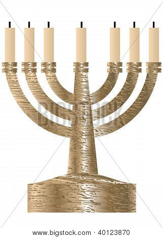 Menorah. Seven Branched Candlestick