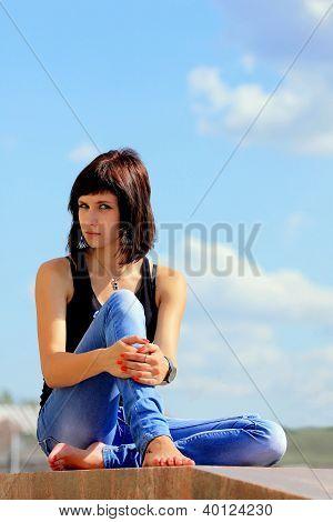 A brunette girl