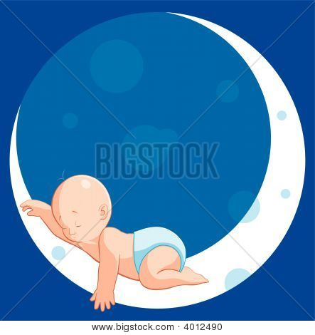 Baby Sleeping On Moon