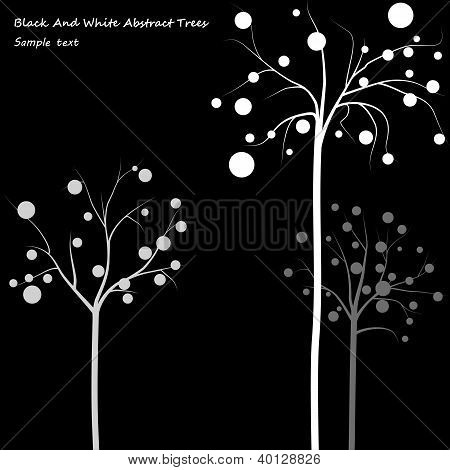 Black And Whiter Abstract Trees Background