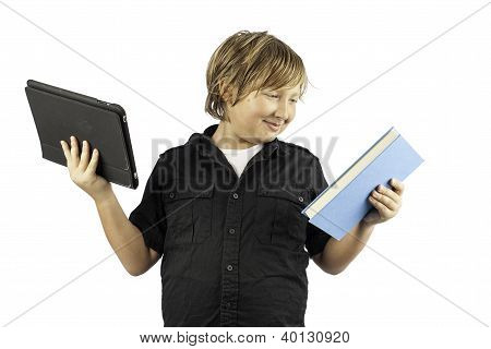 Young Boy With Book And Tablet Pc
