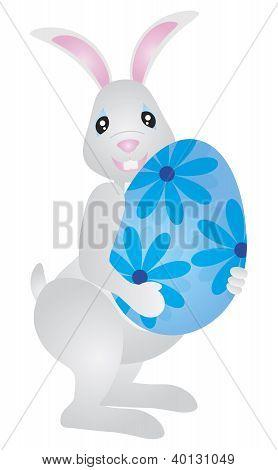 Easter Bunny Carrying Big Egg Illustration