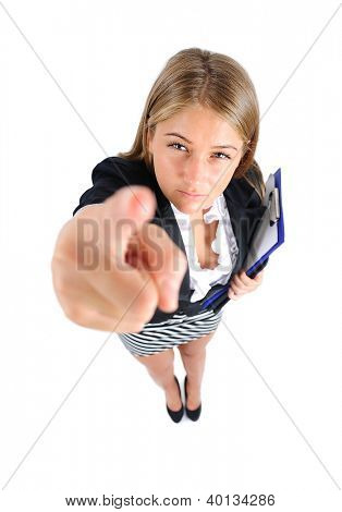 Isolated young business woman pointing