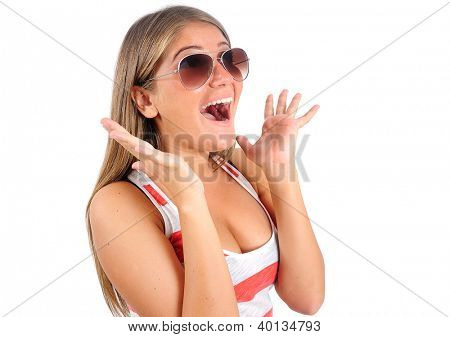 Isolated young casual woman amazed