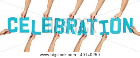 Turquoise blue uppercase CELEBRATION lettering held up by female hands isolated on white