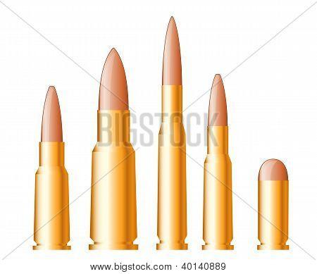 Set of gun bullets and ammunition