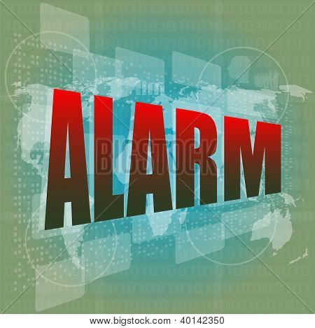 Security Concept: Alarm Word On Digital Screen