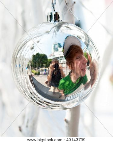 Christmas Tree Balls And Mirroring Of Father And Sun With Fun