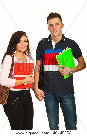 Studenten paar naar School te gaan