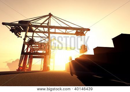 Industrial Port Sunset Sunrise 3D render