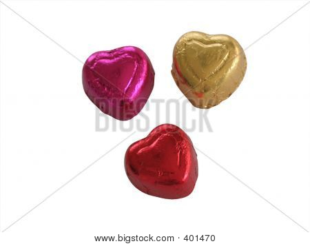 Isolated Candy Hearts