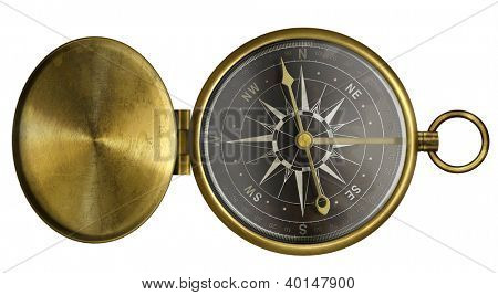 brass antique pocket compass with lid and black scale isolated on white
