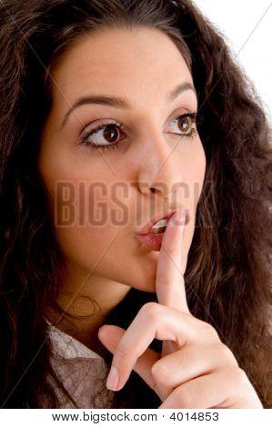 Beautiful Woman Shushing