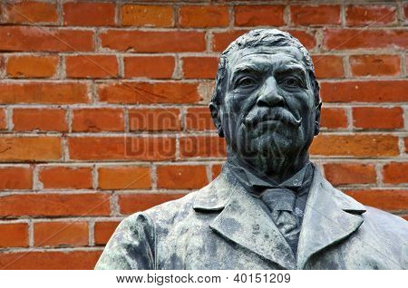 Bronze Sculpture Of A Man With Moustache