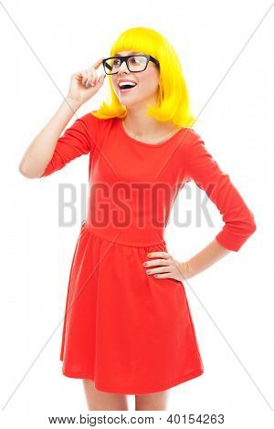 Woman wearing glasses and yellow wig