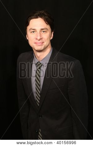 "NEW YORK-DEC 10: Actor Zach Braff attends the premiere of ""Les Miserables"" at the Ziegfeld Theatre on December 10, 2012 in New York City."