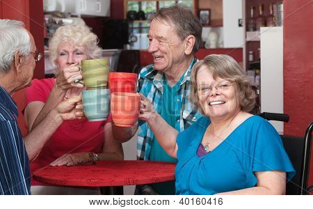 Senior Group Toasting Drinks