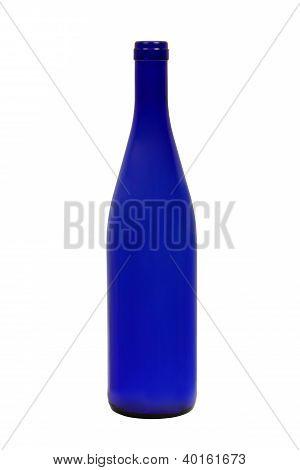 Empty Dark Blue Wine Bottle