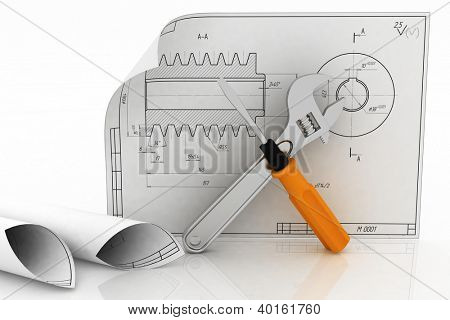3d wrench and screwdriver with drafts. Illustration on white.