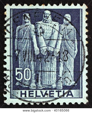 Postage Stamp Switzerland 1941 The Three Swiss, Oath On Rutli Mo