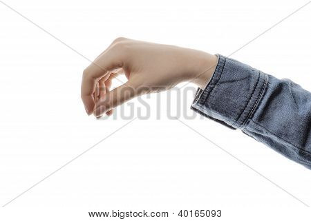 Closeup Woman`s Hand Isolated On White Background