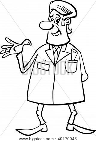 Medic Doctor Black And White Cartoon
