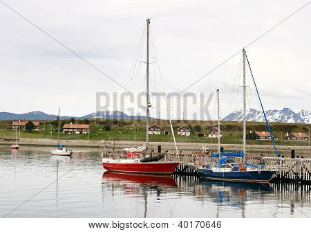 Some boats in port of Ushuaia, Argentina