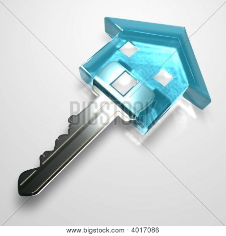 Isolated Blue Plastic Transparent Key