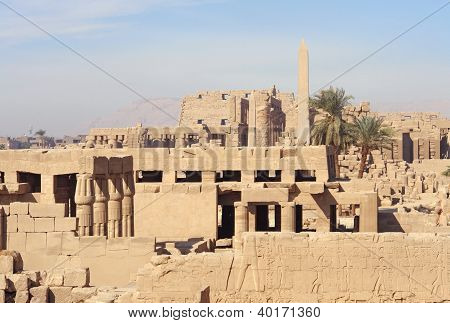 Sunny Illuminated Precinct Of Amun-re In Egypt